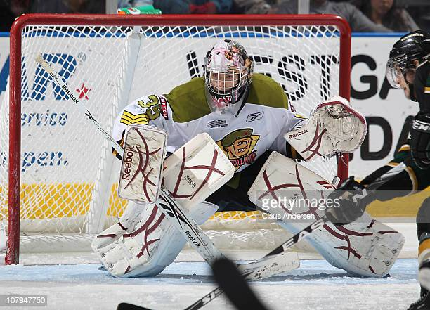 Matej Machovsky of the Brampton Battalion watches for a shot in a game against the London Knights on January 7 2011 at the John Labatt Centre in...