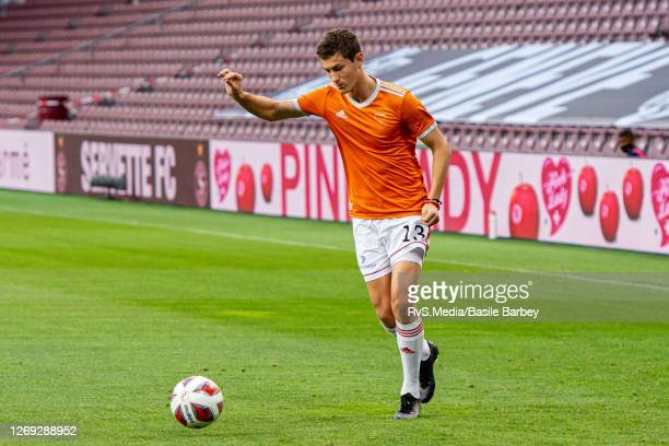 Matej Madlenak of MFK Ruzomberok in action during warm up prior the UEFA Europa League qualification match between Servette FC and MFK Ruzomberok at...