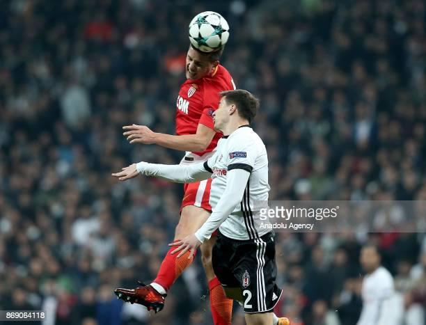 Matej Mitrovic of Besiktas in action against Stevan Jovetic of Monaco during a UEFA Champions League Group G match between Besiktas and Monaco at the...