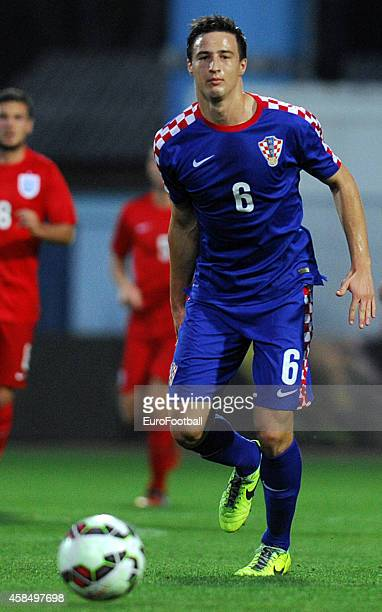 Matej Mitrovic of Croatia in action during the UEFA U21 Championship Playoff Second Leg match between Croatia and England at the Stadion Hnk Cibalia...