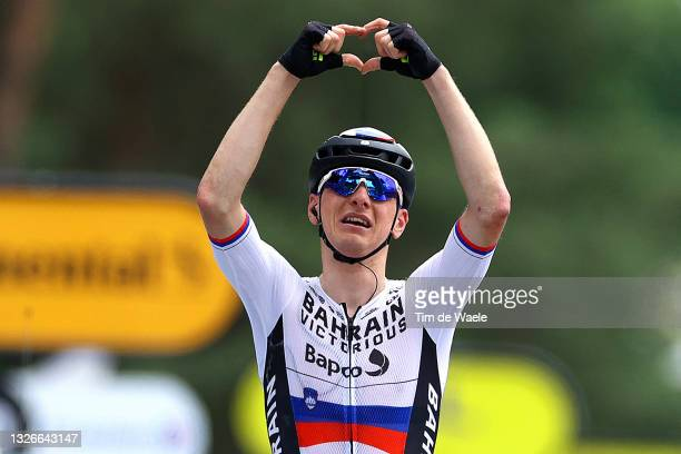 Matej Mohorič of Slovenia and Team Bahrain - Victorious stage winner celebrates at arrival during the 108th Tour de France 2021, Stage 7 a 249,1km km...