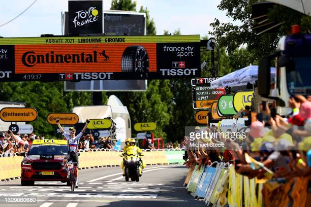 Matej Mohorič of Slovenia and Team Bahrain - Victorious stage winner celebrates at arrival during the 108th Tour de France 2021, Stage 19 a 207km...