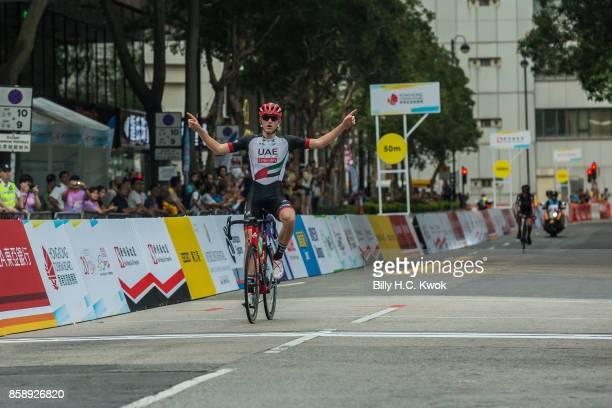 Matej Mohoric celebrates winning Sun Hung Kai Properties HK Challenge on October 8, 2017 in Hong Kong, Hong Kong. Top cyclists of 17 professional...
