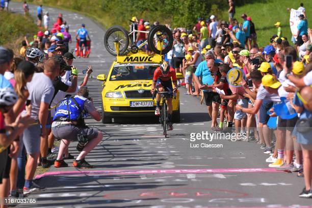 Matej Mohoric of Slovenia and Bahrain Merida / Mavic Neutral Assistant Car / Fans / Public / during the 76th Tour of Poland 2019 Stage 7 a 153km...