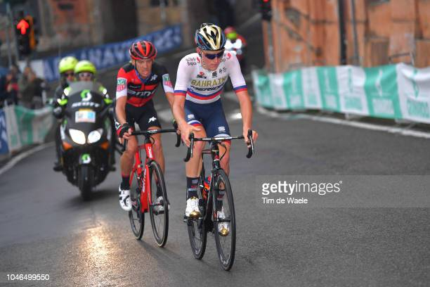 Matej Mohoric of Slovenia and Bahrain Merida Pro Cycling Team / Alessandro De Marchi of Italy and BMC Racing Team / during the 101th Giro Dell'Emilia...