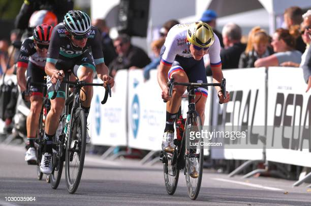 Matej Mohoric of Slovenia and Bahrain Merida Pro Cycling Team / Gregor Muhlberger of Austria and Team Bora Hansgrohe / during the 9th Grand Prix...