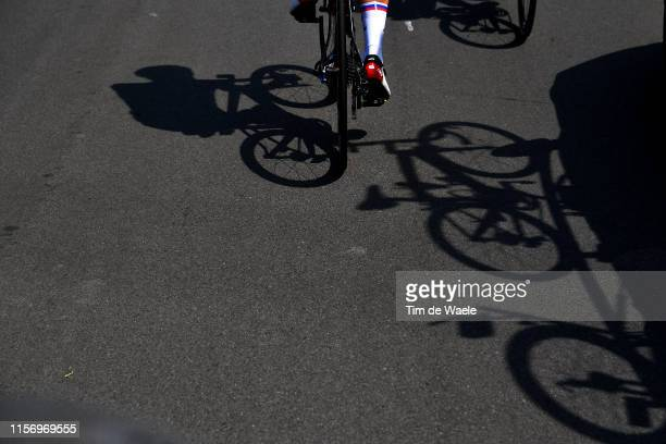 Matej Mohoric of Slovenia and Team Bahrain Merida / Shadow / Detail view / during the 83rd Tour of Switzerland Stage 5 a 177km stage from...