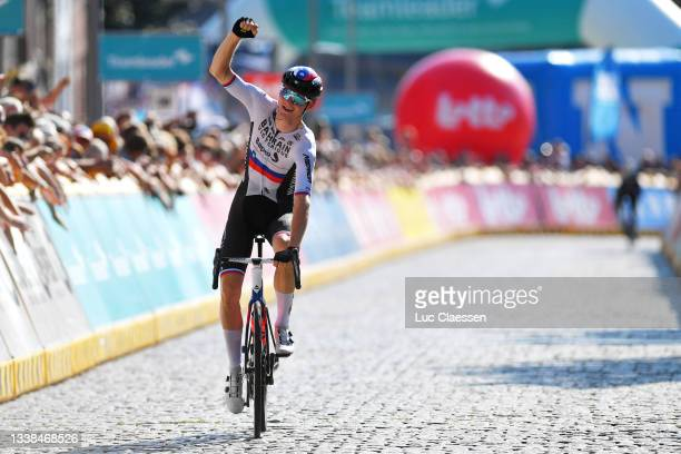 Matej Mohoric of Slovenia and Team Bahrain Victorious celebrates winning during the 17th Benelux Tour 2021, Stage 7 a 180,9km stage from Namur to...
