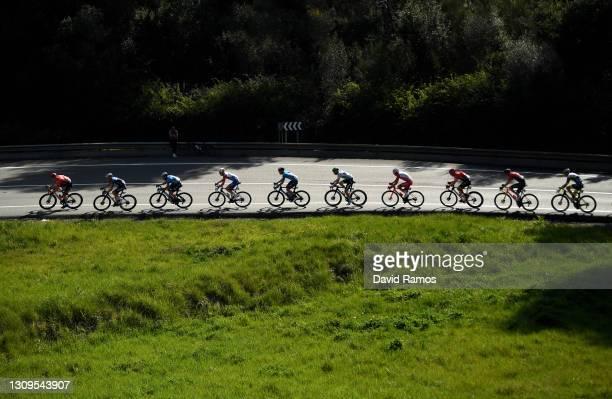 Matej Mohoric of Slovenia and Team Bahrain Victorious, James Knox of United Kingdom and Team Deceuninck - Quick-Step., Dario Cataldo of Italy and...