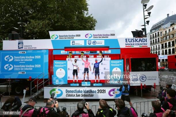 Matej Mohoric of Slovenia and Team Bahrain Victorious, Neilson Powless of United States and Team EF Education - Nippo & Mikkel Honoré of Denmark and...