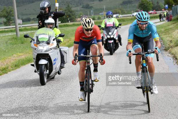 Matej Mohoric of Slovenia and Team BahrainMerida / Davide Villella of Italy and Astana Pro Team / during the 101st Tour of Italy 2018 Stage 10 a...