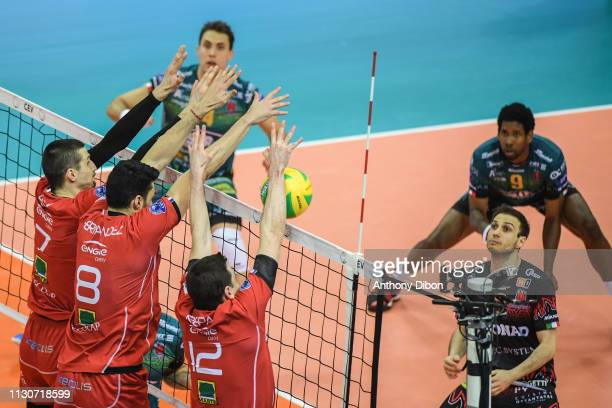 Matej Patak Jorge Fernandez and Martin Repak of Chaumont during the CEV Champions League match Chaumont 52 and SIR Safety Perugia on March 14 2019 in...