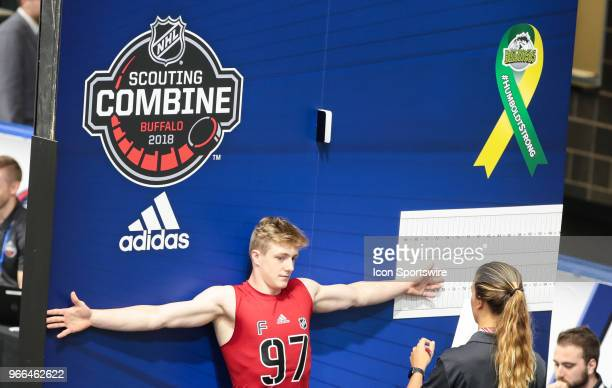 Matej Pekar completes a test during the NHL Scouting Combine on June 2 2018 at HarborCenter in Buffalo New York