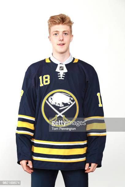 Matej Pekar poses after being selected 94th overall by the Buffalo Sabres during the 2018 NHL Draft at American Airlines Center on June 23 2018 in...