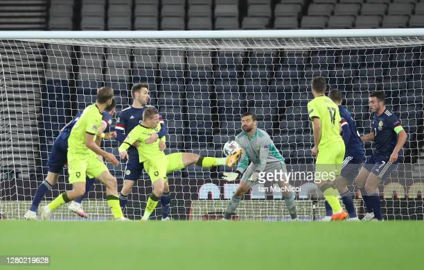 Matej Vydr of Czech Republic misses a chance on goal during the UEFA Nations League group stage match between Scotland and Czech Republic at Hampden...