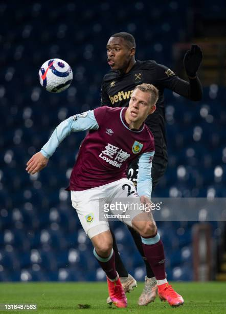 Matej Vydra of Burnley and Issa Diop of West Ham United in action during the Premier League match between Burnley and West Ham United at Turf Moor on...
