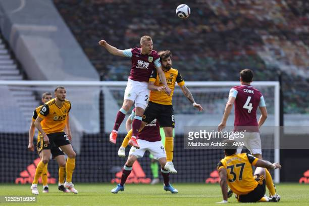 Matej Vydra of Burnley and Ruben Neves of Wolverhampton Wanderers during the Premier League match between Wolverhampton Wanderers and Burnley at...