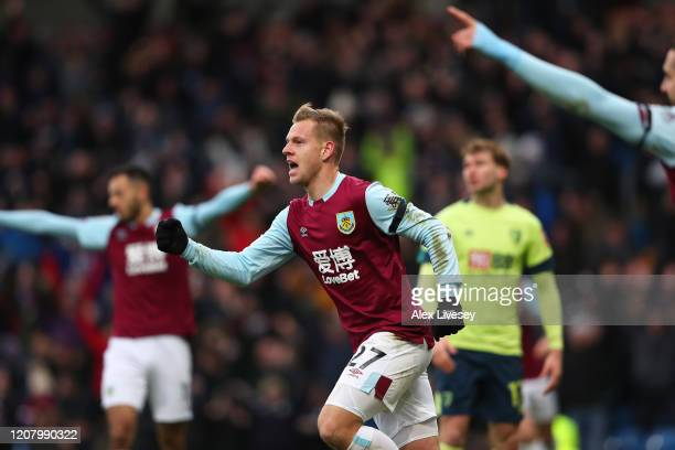 Matej Vydra of Burnley celebrates after scoring his sides first goal during the Premier League match between Burnley FC and AFC Bournemouth at Turf...