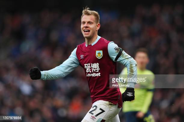 Matej Vydra of Burnley celebrates after scoring his team's first goal during the Premier League match between Burnley FC and AFC Bournemouth at Turf...