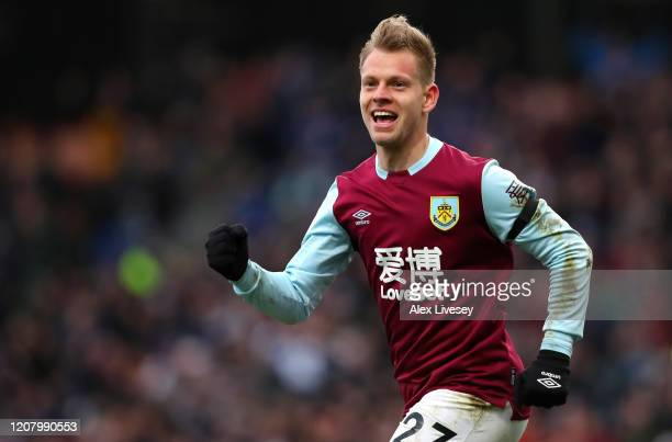 Matej Vydra of Burnley celebrates after scoring his team's second goal during the Premier League match between Burnley FC and AFC Bournemouth at Turf...