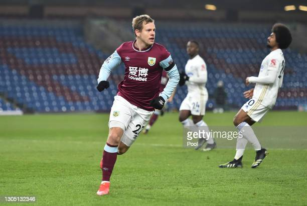 Matej Vydra of Burnley celebrates after scoring their side's first goal during the Premier League match between Burnley and Leicester City at Turf...