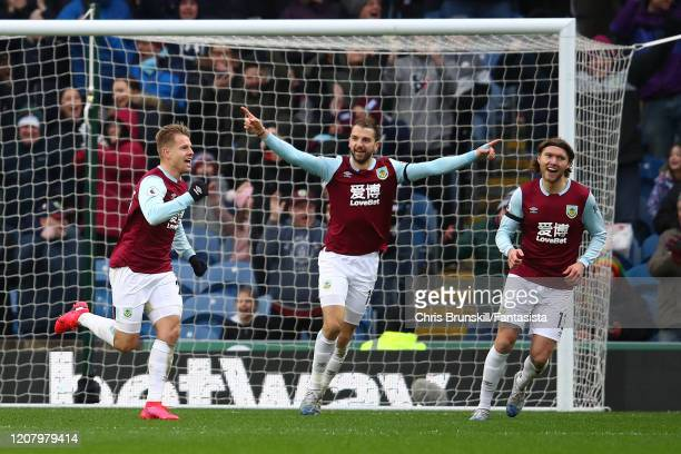 Matej Vydra of Burnley celebrates scoring the opening goal during the Premier League match between Burnley FC and AFC Bournemouth at Turf Moor on...