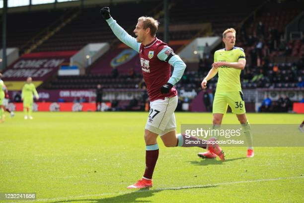 Matej Vydra of Burnley celebrates scoring the opening goal during the Premier League match between Burnley and Newcastle United at Turf Moor on April...