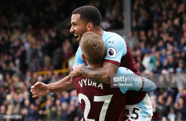 Matej Vydra of Burnley celebrates with Aaron Lennon after he scores the opening goal during the Premier League match between Burnley FC and AFC...