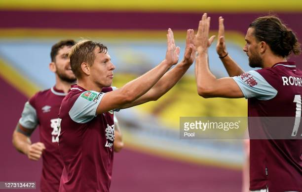 Matej Vydra of Burnley celebrates with Jay Rodriguez after scoring his sides first goal during the Carabao Cup second round match between Burnley and...