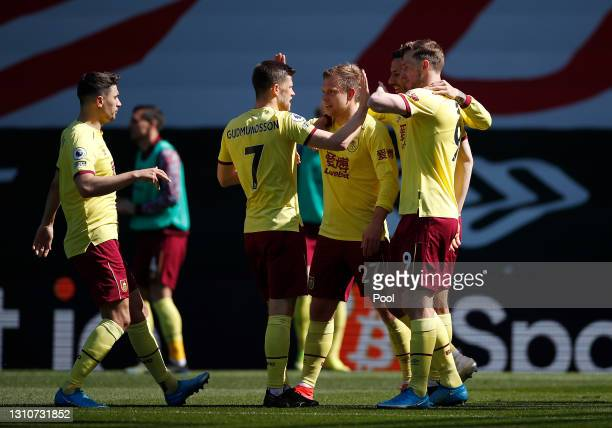 Matej Vydra of Burnley celebrates with teammates after scoring their team's second goal during the Premier League match between Southampton and...
