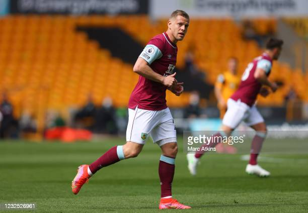 Matej Vydra of Burnley during the Premier League match between Wolverhampton Wanderers and Burnley at Molineux on April 25, 2021 in Wolverhampton,...