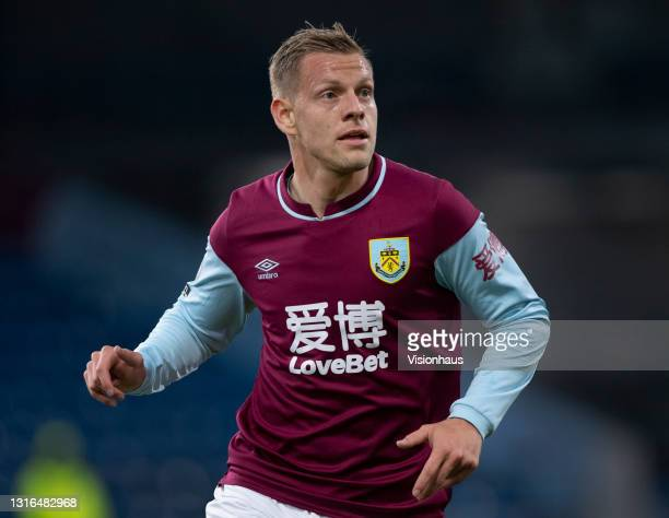 Matej Vydra of Burnley in action during the Premier League match between Burnley and West Ham United at Turf Moor on May 3, 2021 in Burnley, United...
