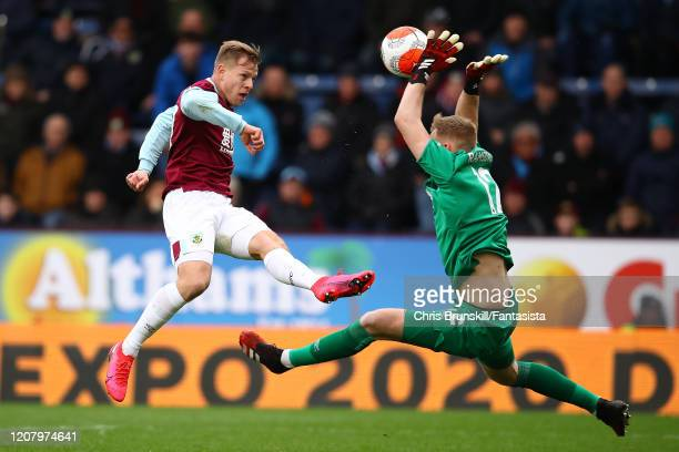 Matej Vydra of Burnley is denied by Aaron Ramsdale of AFC Bournemouth during the Premier League match between Burnley FC and AFC Bournemouth at Turf...