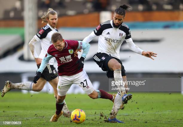 Matej Vydra of Burnley is fouled by Michael Hector of Fulham, leading to a penalty to Burnley during The Emirates FA Cup Fourth Round match between...