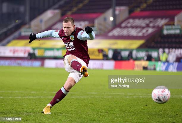 Matej Vydra of Burnley misses the first penalty during the penalty shoot out during the FA Cup Third Round match between Burnley and Milton Keynes...