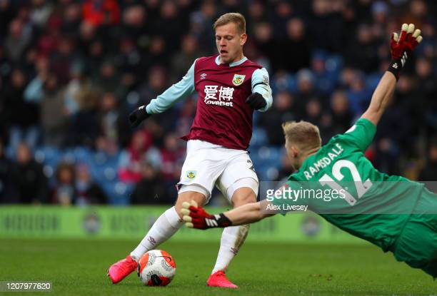 Matej Vydra of Burnley scores the opening goal during the Premier League match between Burnley FC and AFC Bournemouth at Turf Moor on February 22,...