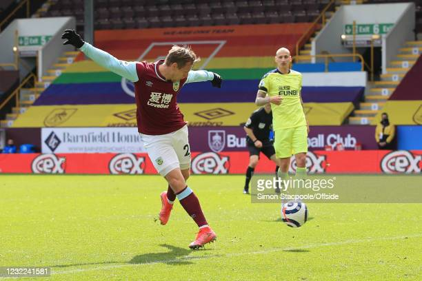 Matej Vydra of Burnley scores the opening goal during the Premier League match between Burnley and Newcastle United at Turf Moor on April 11, 2021 in...