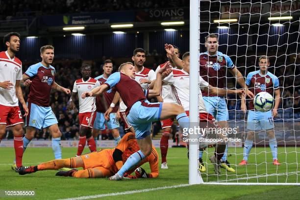 Matej Vydra of Burnley scores their 1st goal during the UEFA Europa League Qualifying Play-Off Second Leg match between Burnley and Olympiakos at...