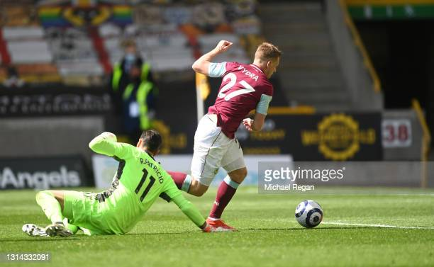 Matej Vydra of Burnley scores their side's fourth goal which is later ruled out after a VAR review for offside during the Premier League match...