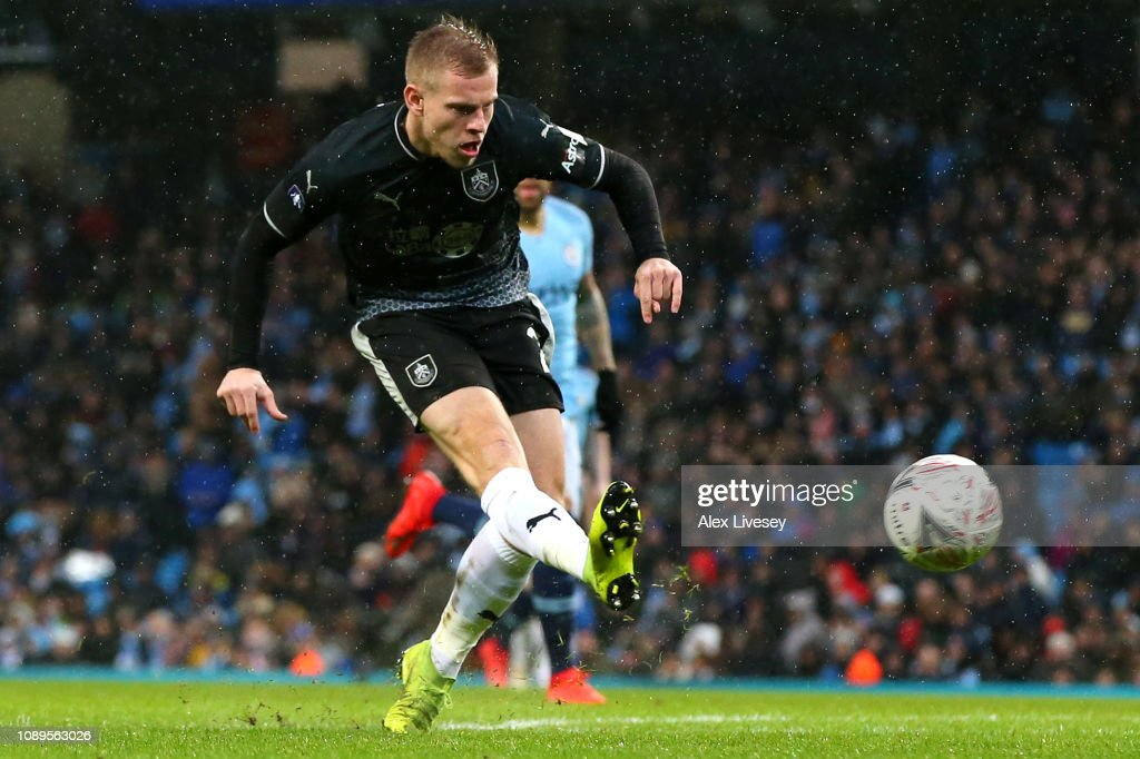Matej Vydra Of Burnley Shoots During The FA Cup Fourth