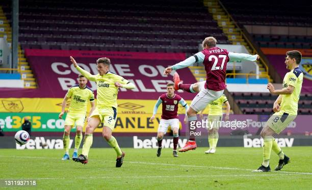 Matej Vydra of Burnley shoots during the Premier League match between Burnley and Newcastle United at Turf Moor on April 11, 2021 in Burnley,...