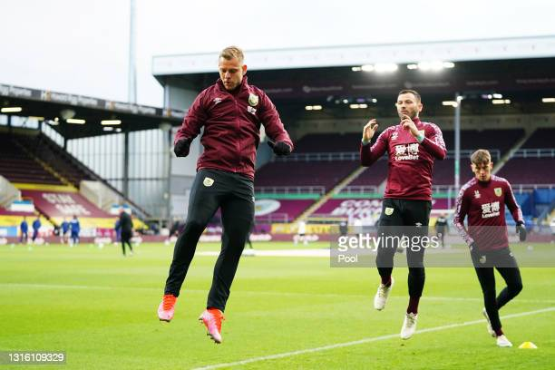 Matej Vydra of Burnley warms up prior to the Premier League match between Burnley and West Ham United at Turf Moor on May 03, 2021 in Burnley,...