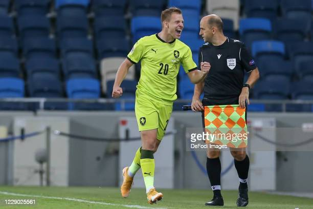Matej Vydra of Czech Republic celebrates during the UEFA Nations League group stage match between Israel and Czech Republic at Itztadion Sammy Ofer...