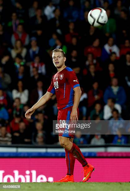 Matej Vydra of Czech Republic looks at the ball during the international friendly match between Czech Republic and USA on September 3 2014 in Prague...