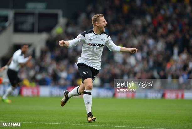 Matej Vydra of Derby celebrates after scoring during the Sky Bet Championship match between Derby County and Nottingham Forest at iPro Stadium on...