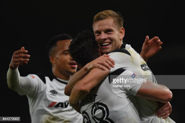 Matej Vydra of Derby celebrates scoring the second goal during the Sky Bet Championship match between Derby County and Hull City at iPro Stadium on...