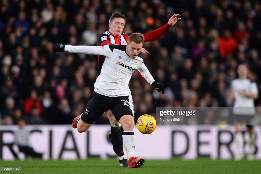 Matej Vydra Of Derby County And John Lundstram Of