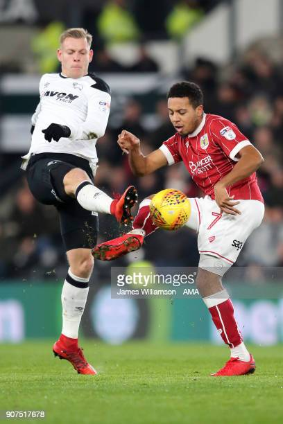 Matej Vydra of Derby County and Korey Smith of Bristol City during the Sky Bet Championship match between Derby County and Bristol City at iPro...