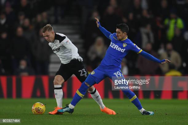 Matej Vydra of Derby County battles Pablo Hernandez of Leeds United during the Sky Bet Championship match between Derby County and Leeds United at...