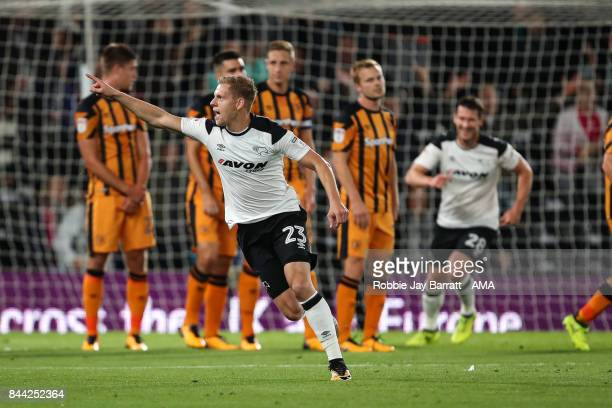 Matej Vydra of Derby County celebrates after scoring a goal to make it 10 during the Sky Bet Championship match between Derby County and Hull City at...